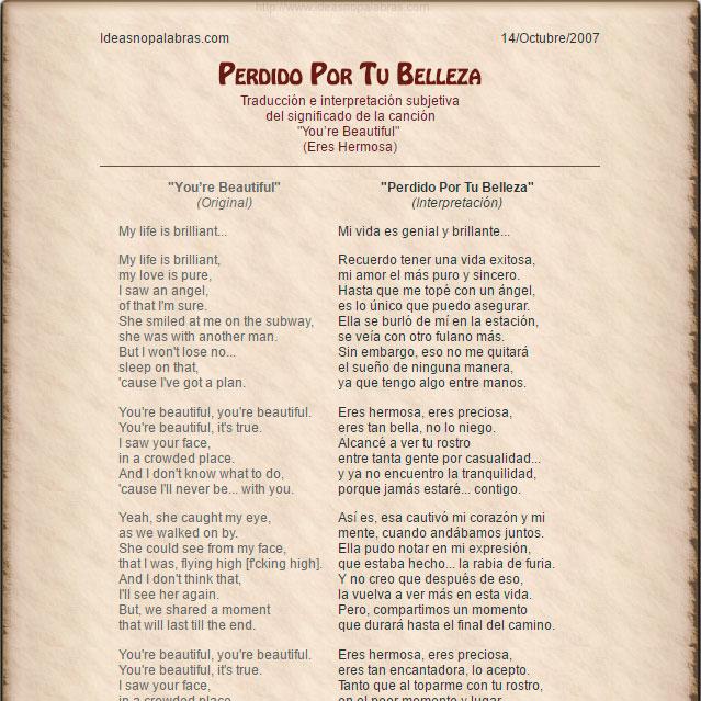 James Blunt You Re Beautiful Traducción Eres Hermosa Interpretación Perdido Por Tu Belleza Ideasnopalabras