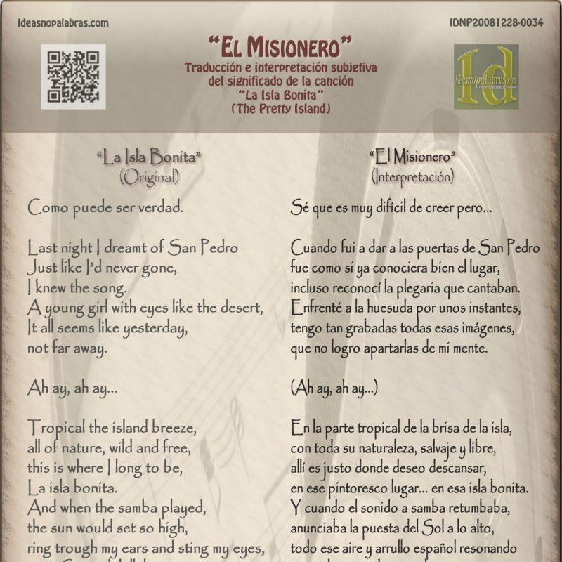 Madonna Alizee La Isla Bonita Pretty Island El Misionero Interpretación Y Traducción Ideasnopalabras