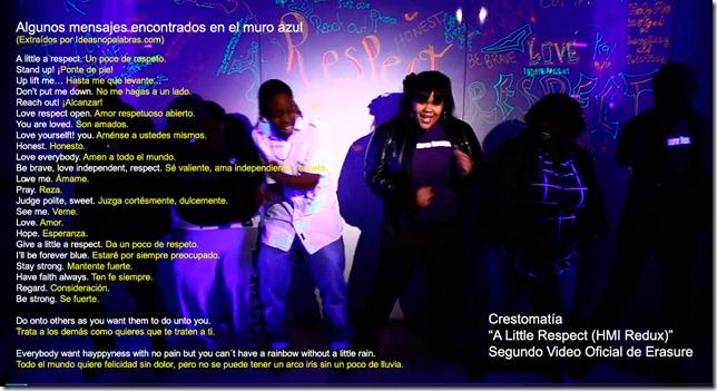 Frases extraídas del muro azul del video A Little Respect