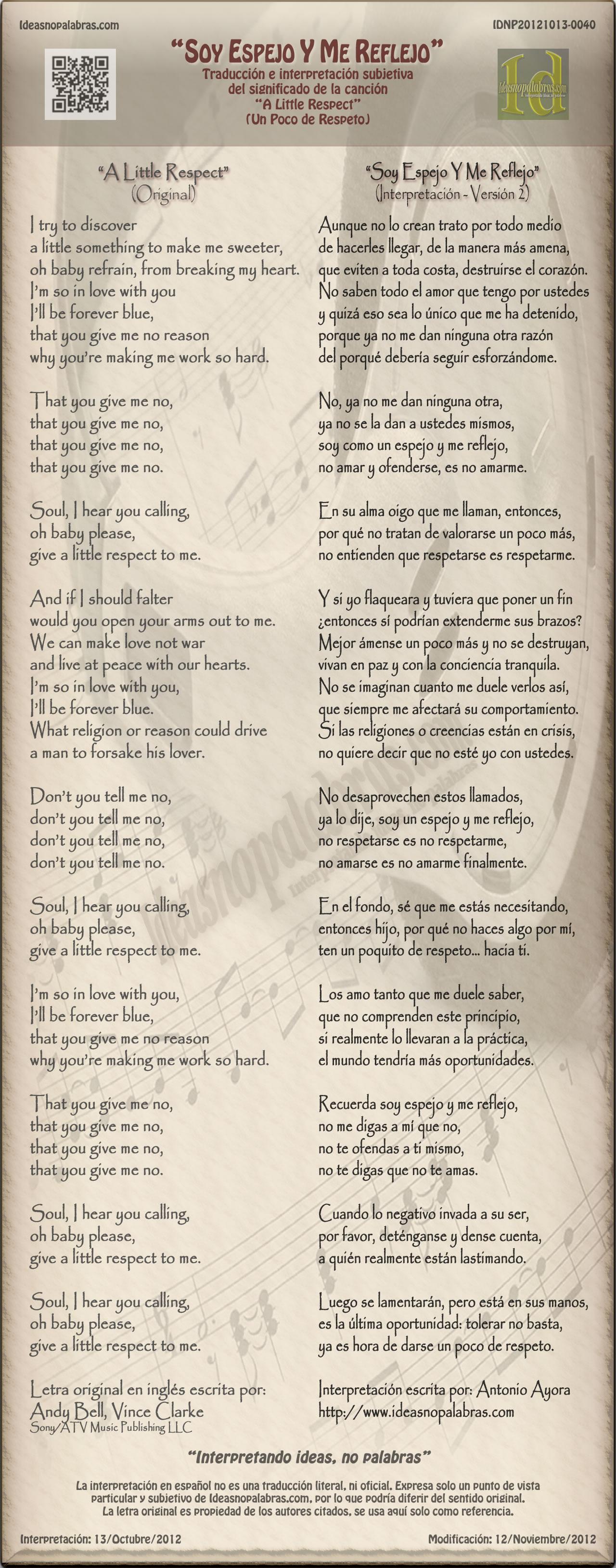 IDNP20121013-0040 Interpretación Soy Espejo y Me Reflejo A Little Respect