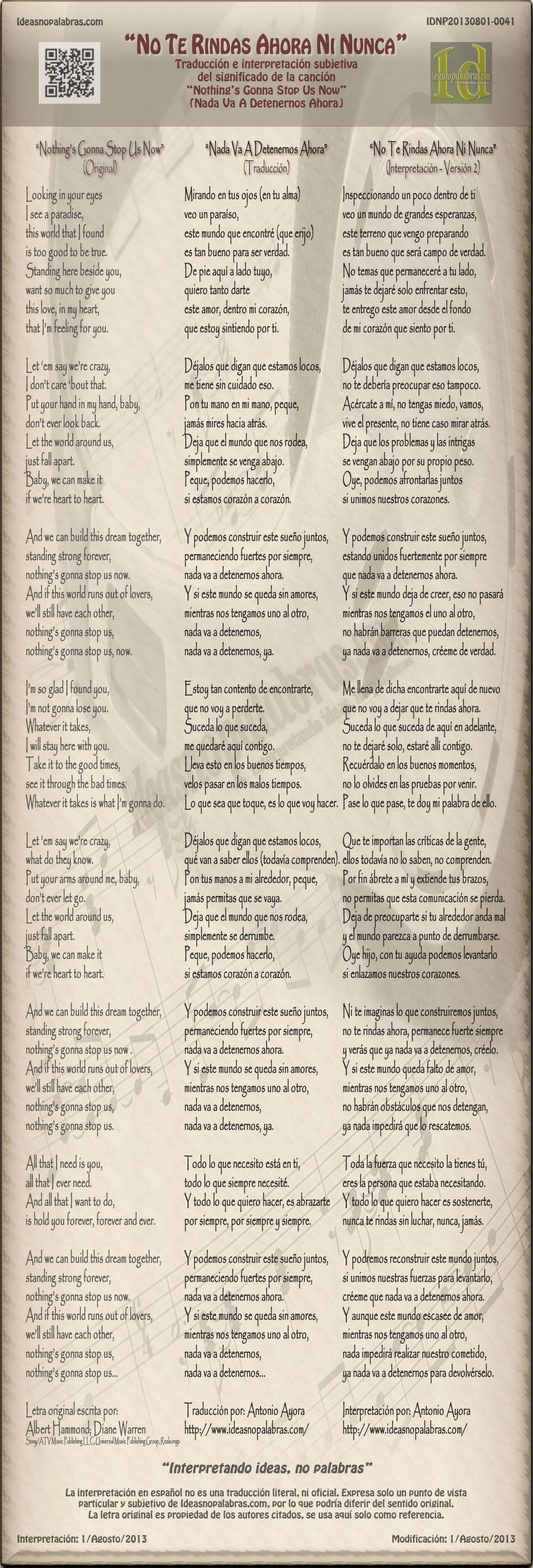 IDNP20130801-0041 Traducción Nada Va A Detenernos Ahora Nothing's Gonna Stop Us Now